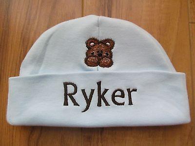 PERSONALIZED MONOGRAM CUSTOM Baby Newborn Hospital Hat Cap Beanie Teddy Bear - Infant Newborn Teddy Bears