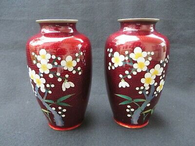 Pair (2) of Vintage Japanese Cloisonne Pigeon Red Vase with Cherry Blossom 4.75