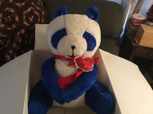 """Large Blue and White """"I Love You"""" Plush Teddy Bear"""
