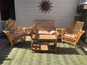 Bamboo table, two chairs, love seat