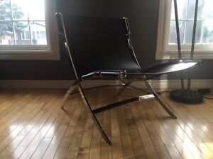 """Mid century modern Stainless Steel and Leather """"Scissor """"  chair"""