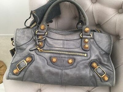 AUTH BALENCIAGA Giant 21 Agneau Gold City Arena Bag Gray Motorcycle Tote for sale  Los Angeles