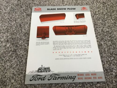 Ford Tractor Dearborn Blade Snow Plow For 1947 Dealers Brochure-5049