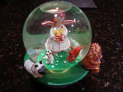 1995 Neiman Marcus/Department 56 Annual Musical Snow Globe~White Angel w Animals