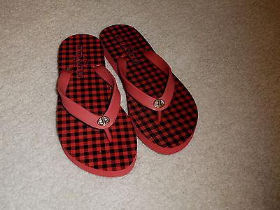 COACH DARK RED CHECKERED ALYSSA THONG FLIP FLOP SANDALS SIZE 5 - 6 B