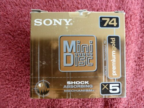 Pack of 5 New Sony 74-Minute Premium Gold MiniDiscs- NR!