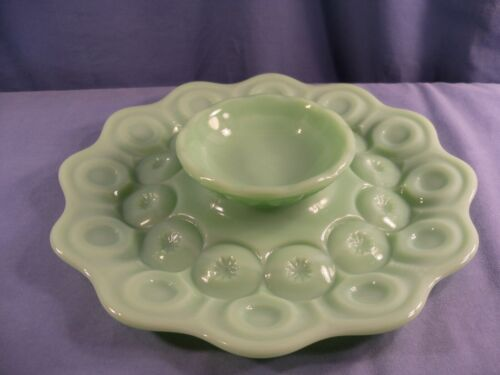 Weishar Jadeite Glass Moon & Stars 1 Piece Chip & Dip Bowl Platter Tray