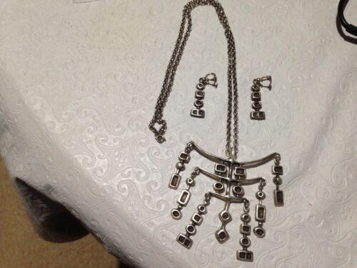 Unn Tangerud Uni David Andersen 925S SET Necklace Screw Earrings Modernist vtg