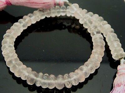 Rose Quartz Facet Rondelle Beads - Natural Rose Quartz Pink Faceted Rondelle Gemstone 56 Beads 8