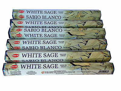 Hem White Sage incense Sticks x 6 Boxes -20 Sticks per Box (120) Pagan Smudge