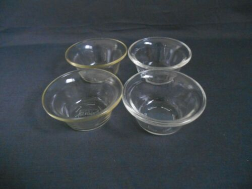 Vintage Set Of 4 USA GLASBAKE Custard Dishes / Small Bowls