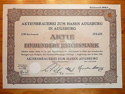 D: BRAUEREI: Aktienbrauerei zum Hasen,Augsburg, 1935, 100 RM *