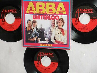 LOT OF 4 ' ABBA ' HIT 45's+1P(Copy)[WATERLOO]  THE 70's!