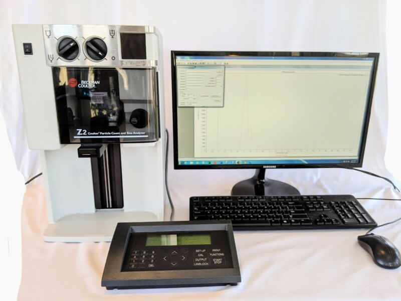 Beckman Coulter Z2 Particle Counter & Size Analyzer, touchpad, PC and software.