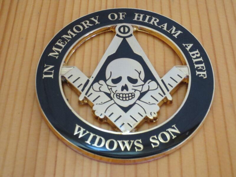 Masonic Auto Car Badge Emblems mason E37 WIDOWS SON IN MEMORY OF HIRAM ABIFF 3