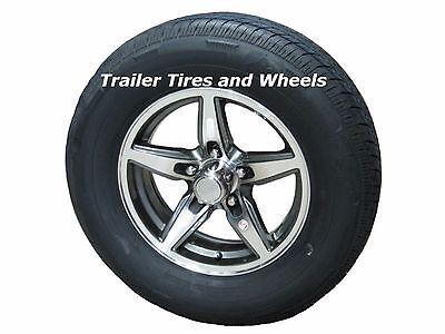 "BOGR 175/80R13 LRC Radial Trailer Tire on 13"" 5 Lug Aluminum Trailer Wheel  acc"