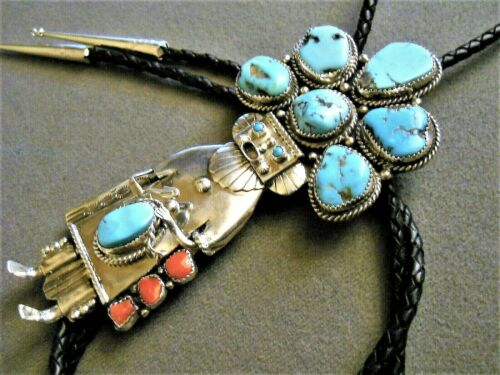 Native American Turquoise Coral Sterling Silver Kachina Dancer Bolo Tie BERT