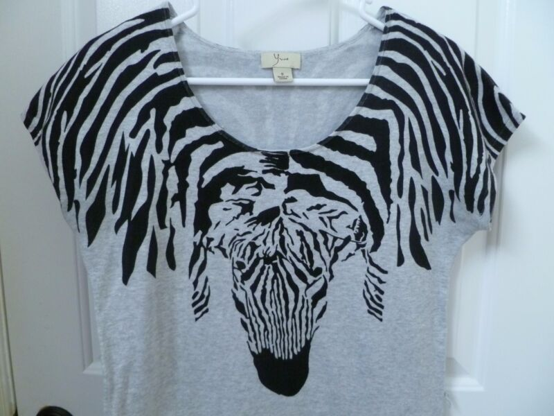 Zebra Face Knit Top Tunic Size Small S Animal Print Stripe Black Gray Yvos