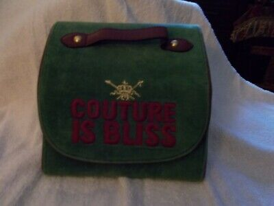 Juicy Couture Green Purple Large Travel Make Up Cosmetic Bag / Jewelry Roll ()