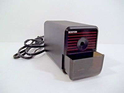 Boston Electric Pencil Sharpener - Model 18 - Vintage Black With Red Stripes Usa