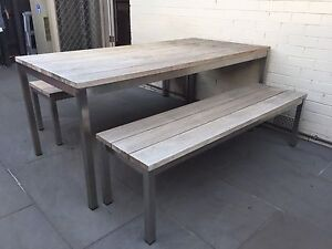 Eco Outdoor 'Lennox' dining table and benches Bonbeach Kingston Area Preview