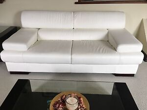 **REDUCED** White Faux-Leather Couch-Almost New
