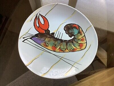 """1960's Kitsch Retro Hand Painted Plate 9 3/4"""" Inch Diam -Incised & Printed Marks"""