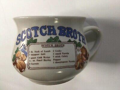 Scotch Broth With Recipe Soup Bowl Mug Crock Cup Stoneware Vintage Recipe Mug Scotch Broth Soup