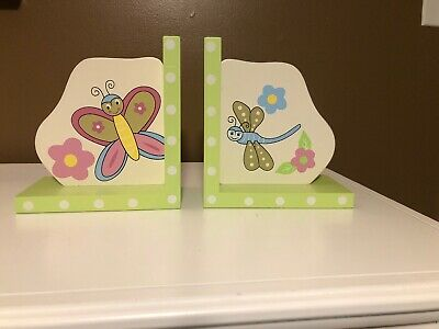 Bug Theme Wooden Bookends for Kids' Room - Pacific Trends Kids Wooden Bookends