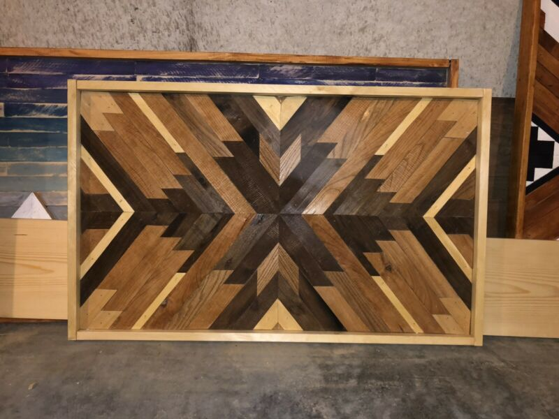 Reclaimed Wood Wall Art - Geometric