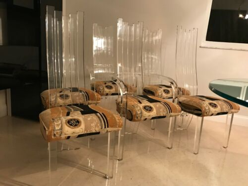 Vintage Set of 6 Hill Manufacturing Lucite Dining Chairs Late 1970