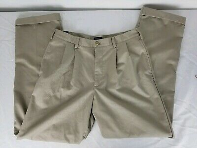 IZOD American Chino Classic-Fit Khaki Double Pleat Pant Stone 36X34 NWT Wrinkle Double Pleated Trouser