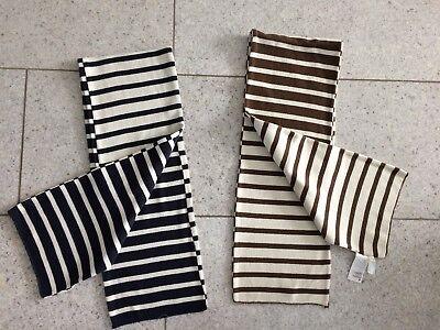 2 Winter Wendeschals H&M für Jungs Schal Streifen blau/creme und braun/creme TOP