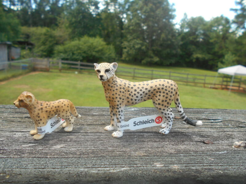 CHEETAH & CUB by Schleich; toy/cheetahs/cat/RETIRED/14614/14327