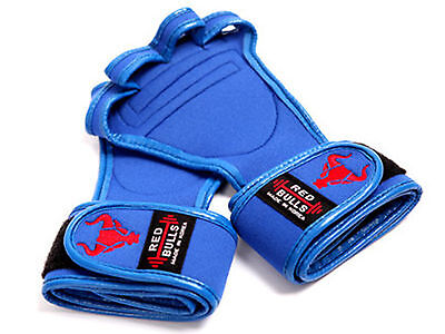 WORKOUT GLOVES BLUE Weight Lifting Fitness Training GYM Grips Straps Wristwraps