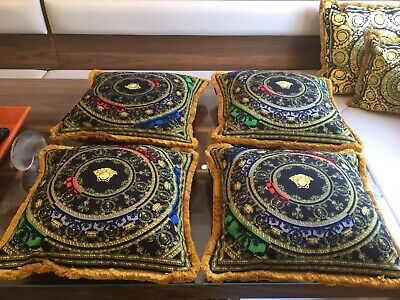 Set Of 3 Large Custom Made Velvet Versace Print Pillows 20inch/20 Show Piece