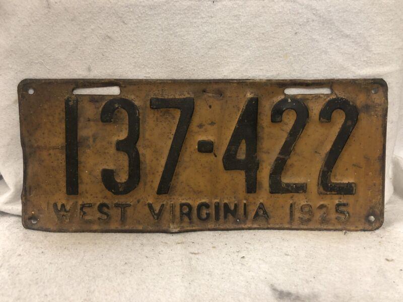 Vintage 1925 West Virginia License Plate