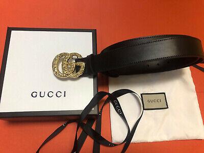 Gucci Black Belt Gold GG Buckle size 110cm