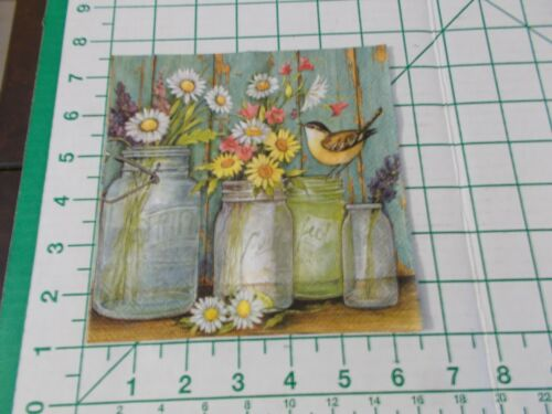 """Two Decorative Luncheon Napkins for Decoupage """"Flower Jars"""""""