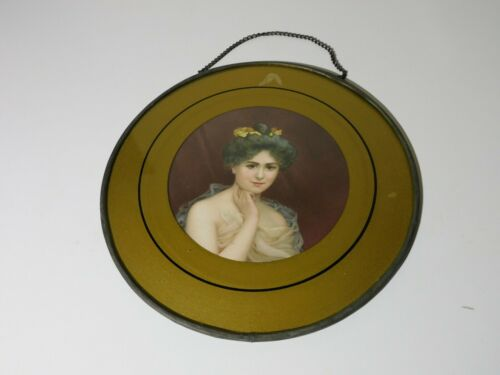 """ANTIQUE 9 1/4"""" FLUE COVER WITH CHAIN VICTORIAN LADY WITH FLOWERS IN HER HAIR"""