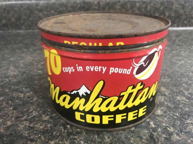 Vintage Manhattan Coffee 1 Lb Key Wind Tin Can Canister St Louis MO (Empty)