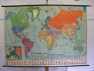 Beautiful Old World Map Germany in World Cars 235x165cm Vintage~1955