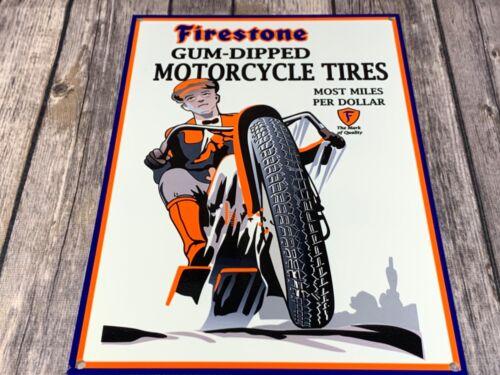 "VINTAGE FIRESTONE GUM-DIPPED MOTORCYCLE TIRES 12"" X 8"" METAL GAS OIL GARAGE SIGN"