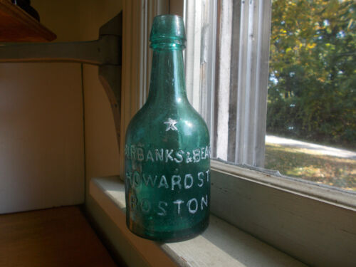 1860s FAIRBANKS & BEARD BOSTON EMB STAR PRETTY TEAL SQUAT SODA BEER APPLIED LIP