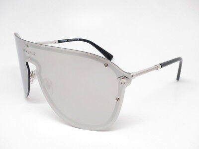 022bc78767149 New Versace VE 2180 1000 6G Silver w Light Grey Mirror Silver Sunglasses
