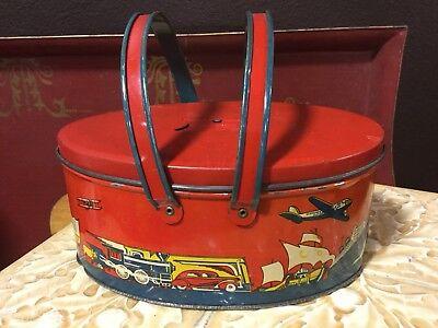 Antique vintage oval lunch box/pail #49 Ohio Art Co transportation (Transportation Lunch Box)