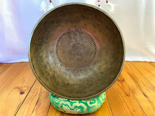 12 inches Diameter Green tara carved Handmade singing bowl from Nepal-yoga Bowl