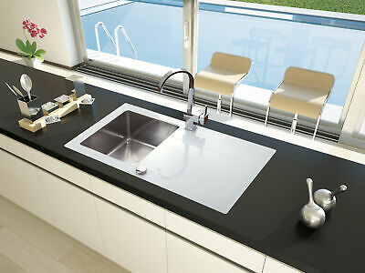 Lavabo Fregadero de Cristal Cocina Acero Inoxidable 86 x 50 Blanco respekta