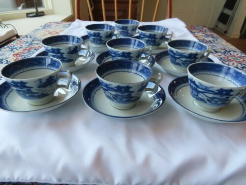 Mottahedeh Historic Charleston Blue Canton Cups (9) and Saucers (8)
