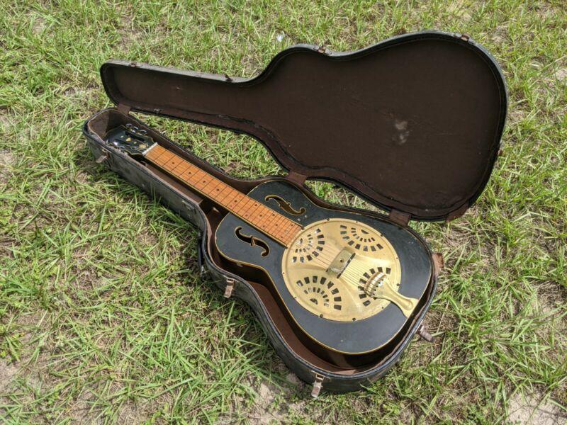 Vintage Unbranded Wood Resonator Guitar Square Neck Very Unique W/Old Hard Case